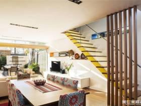 北欧风风格小别墅客厅楼梯装修效果图-北欧风格墙上置物架图片