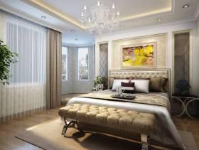 170平米三居室欧式风格卧室吊顶装修效果图,欧式风格床尾凳图片
