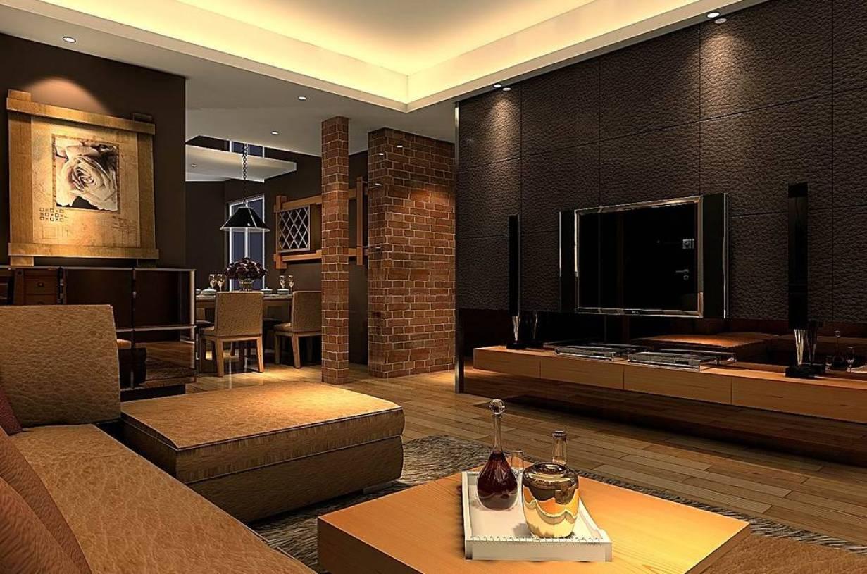 130m三居室后现代风格客厅电视背景墙装修效果图,后现代风格脚凳图片