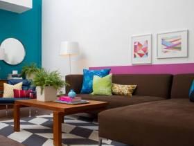 现代简约风格小户型小客厅沙发背景墙装修效果图-现代简约风格茶几图片