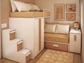 简约风格女生小卧室背景墙装修图片-简约风格子母床图片