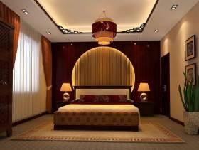 中式风格卧室圆形背景墙装修效果图