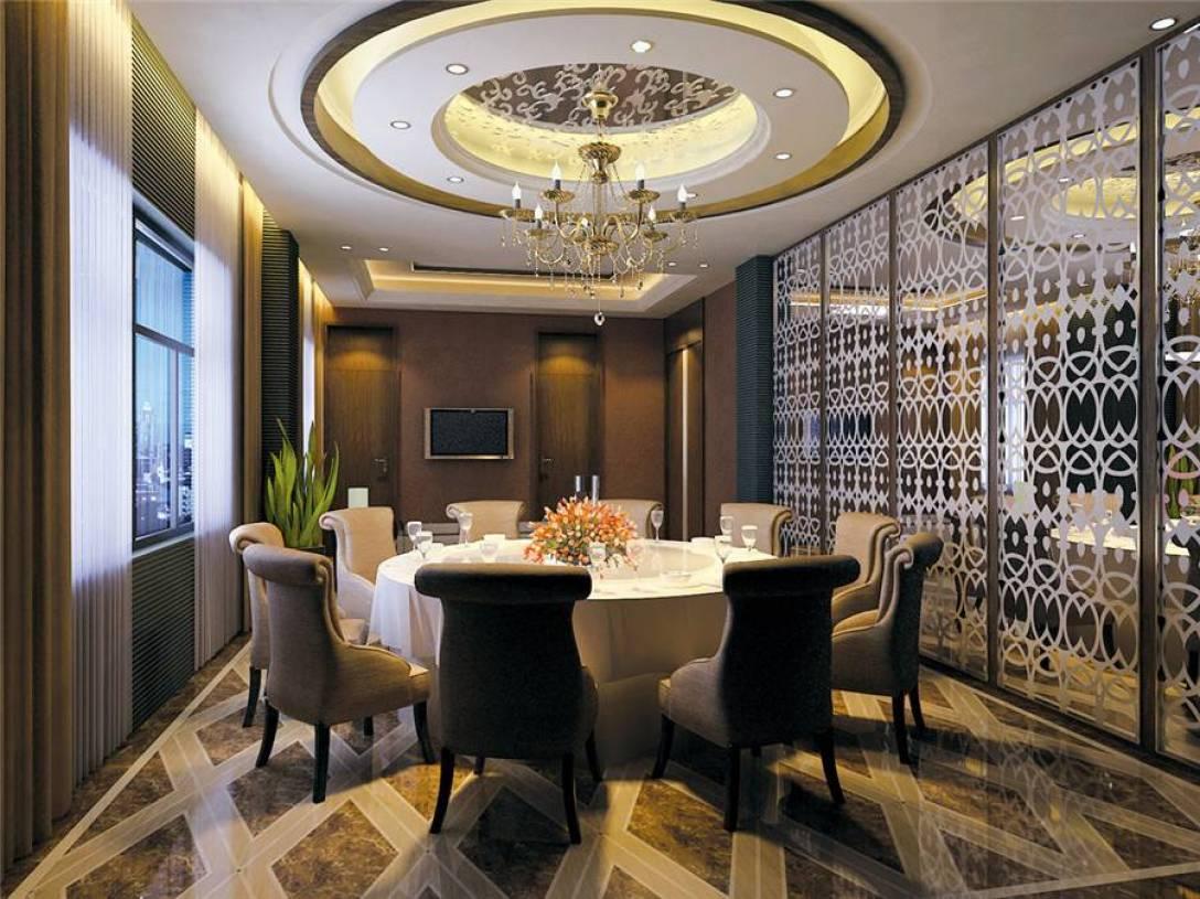 大空间餐厅圆形吊顶装修效果图