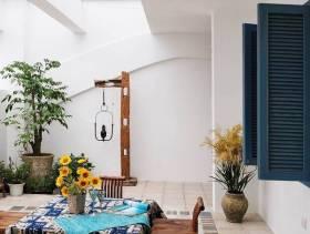地中海风格别墅阳台装修图片-地中海风格椅凳图片