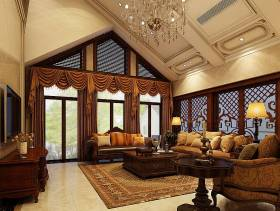 美式别墅宽敞客厅装修效果图