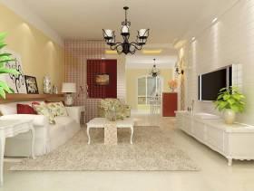 127㎡三室两厅田园风格客厅电视背景墙装修效果图-田园风格电视柜图片