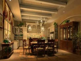 欧式风格大户型三居室餐厅装修效果图,实木餐桌椅图片
