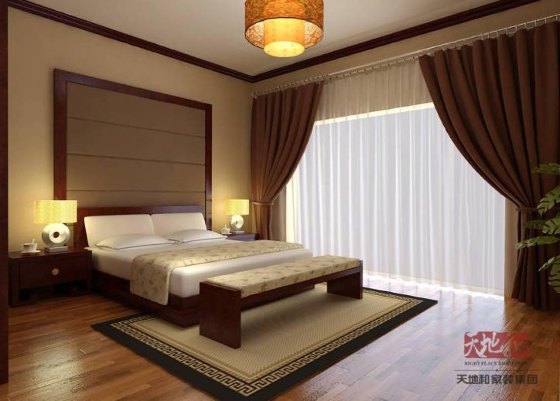 中式风格卧室吊顶装修效果图,中式风格窗帘图片图片