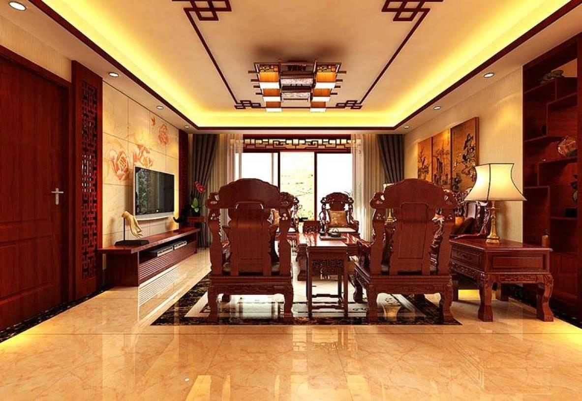 130㎡中式风格三居室客厅吊顶装修效果图-中式风格电视柜图片