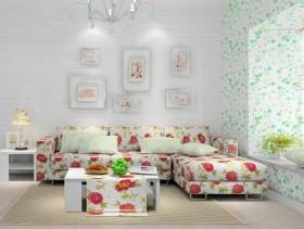 韩式风格三室两厅两卫客厅沙发背景墙装修效果图,韩式风格三室两厅两卫多人沙发图片