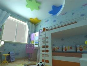 现代风格小平米儿童卧室壁纸装修效果图-现代风格儿童椅图片