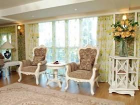 简欧风格阳台窗帘杆罗马杆窗帘装修效果图-简欧风格单人沙发图片