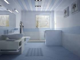 98㎡二居室现代简约风格卫生间背景墙装修图片-现代简约风格面盆图片