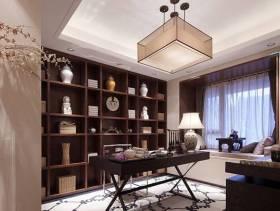 新中式风格别墅书房装修效果图-新中式风格书桌图片