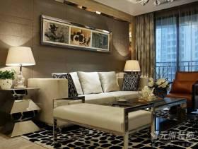 92平现代风格三居客厅沙发背景墙装修图片,现代风格不锈钢茶几图片