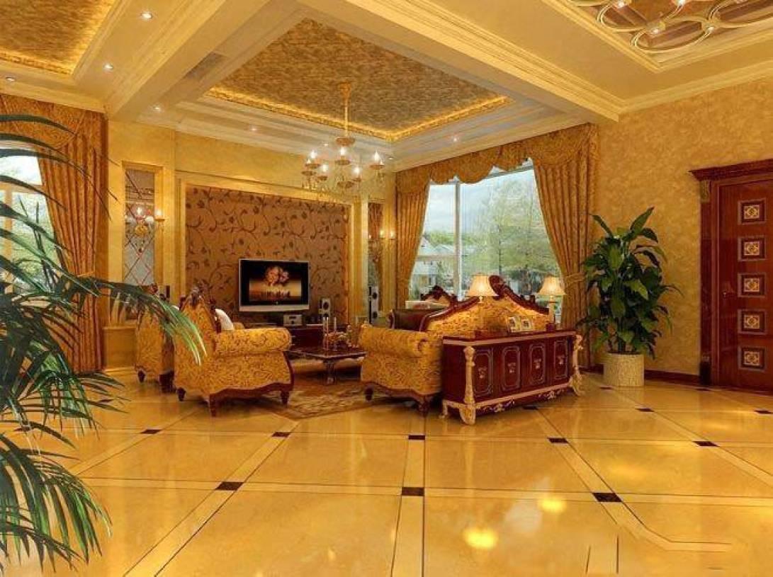 欧式别墅客厅电视背景墙装修效果图-欧式风格沙发图片