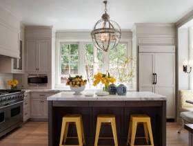 简约风格开放式厨房装修效果图-简约风格椅凳图片