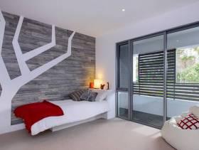 现代简约风格少女房间背景墙装修效果图-现代简约风格单人床图片