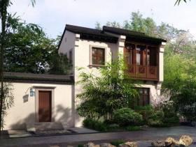 中式风格独栋别墅户外效果图