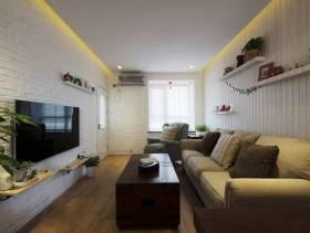 简约风格小户型公寓客厅电视背景墙装修图片-简约风格实木茶几图片