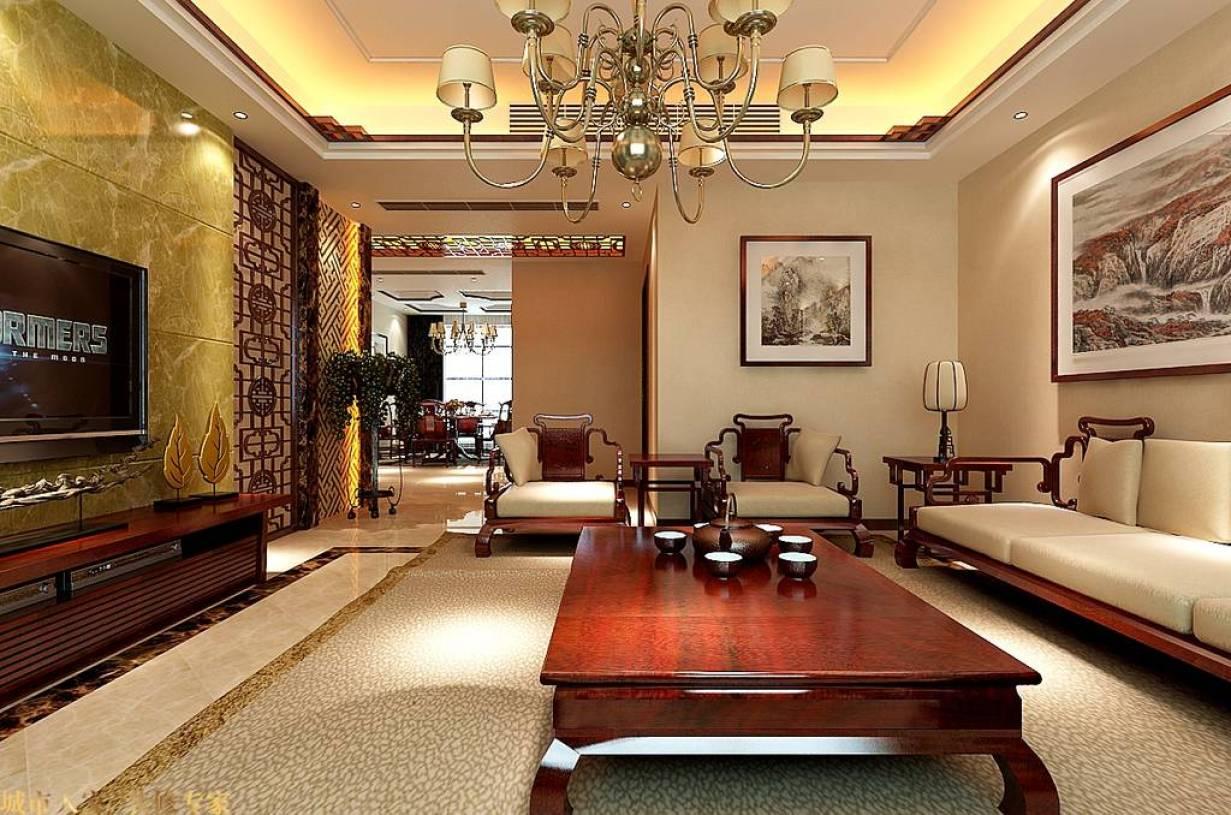 新中式风格客厅背景墙装修效果图-新中式风格茶几图片图片