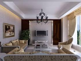 简约欧式风格客厅电视背景墙装修效果图-简约欧式风格沙发图片