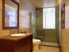 简约欧式风格浴室玻璃隔断装修效果图-简约欧式风格面盆柜图片
