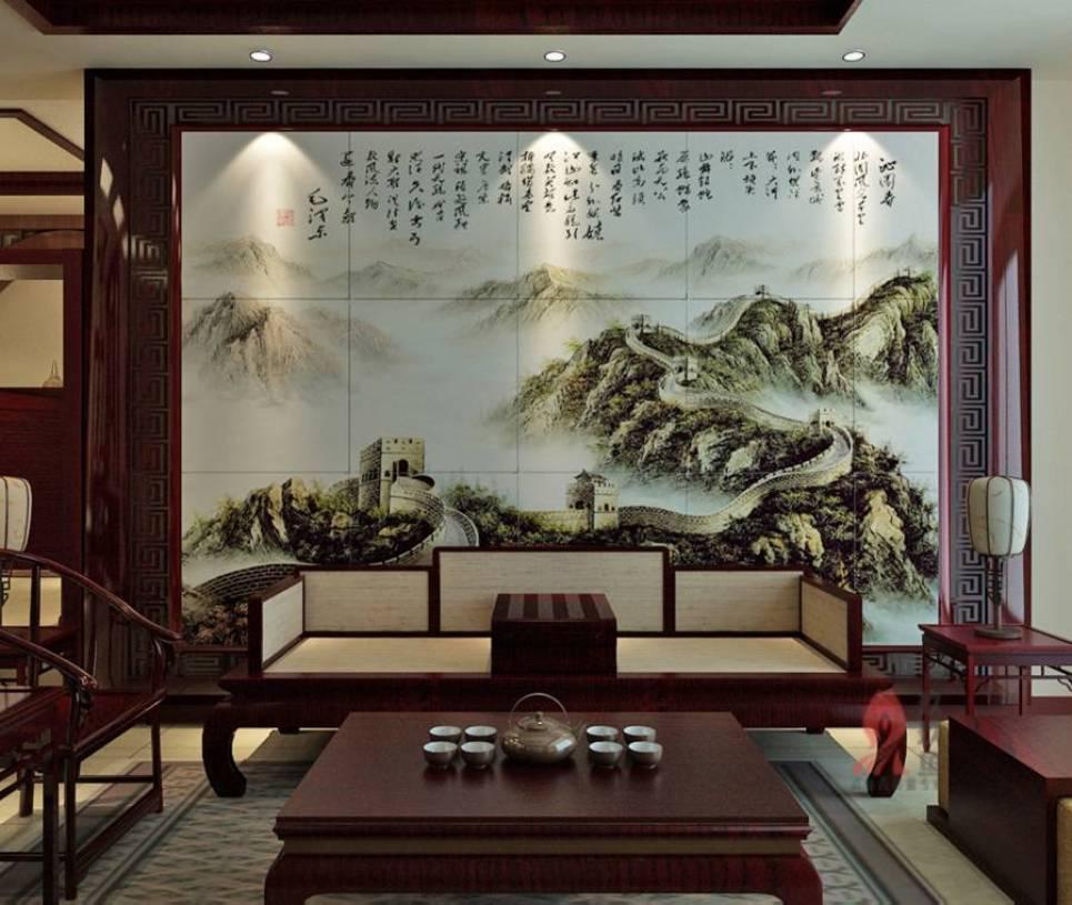 新中式风格客厅瓷砖背景墙装修效果图-新中式风格实木茶几图片图片