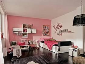 现代简约风格小户型公寓卧室背景墙装修图片-现代简约风格单人床图片
