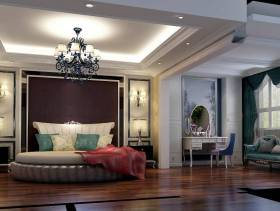 开放式大户型卧室深红色背景墙装修效果图