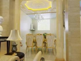 300㎡欧式风格别墅餐厅吊顶装修效果图-欧式风格吊灯图片