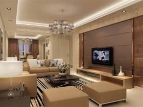 小户型咖啡色客厅电视背景墙装修效果图