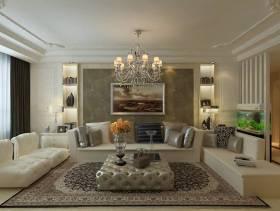 欧式风格三居室客厅沙发背景墙装修效果图,欧式风格吊顶图片
