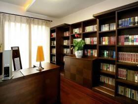 中式风格四居室书房窗帘效果图,中式风格书柜图片
