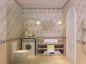 小型卫生间瓷砖背景墙设计效果图