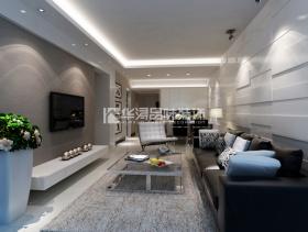 大户型客厅灰色平面电视背景墙装修效果图