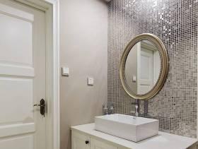 简欧风格洗手间背景墙装修图片-简欧风格面盆柜图片