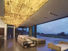 简约风格客厅玻璃隔断墙装修效果图-简约风格组合沙发图片