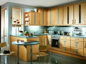 简约欧式风格开放式厨房装修效果图-简约欧式风格整体橱柜图片