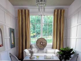 简欧风格豪华别墅阳台背景墙装修效果图-简欧风格窗帘杆图片