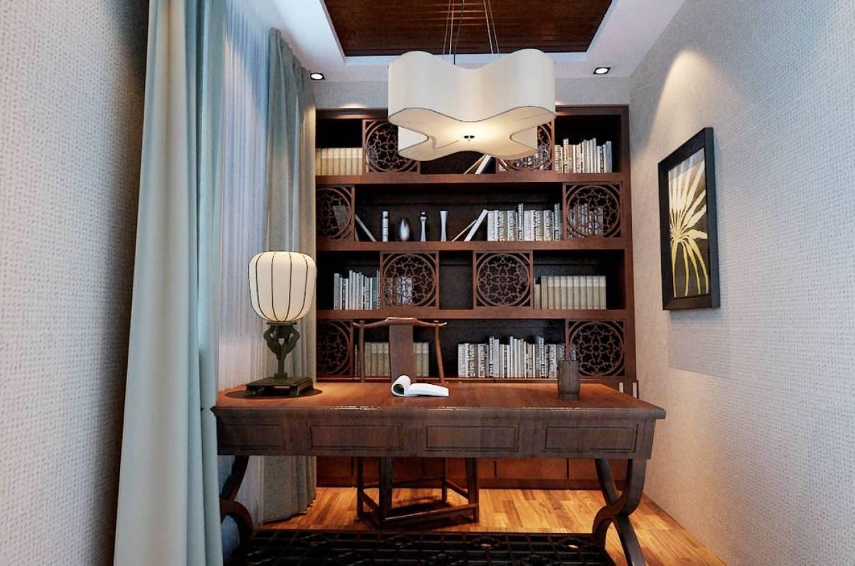 410㎡新中式风格书房吊顶装修效果图-新中式风格书桌图片图片