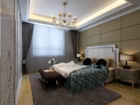 280㎡别墅简约欧式风格卧室吊顶装修效果图-简约欧式风格床头柜图片