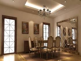 简欧风格餐厅背景墙装修效果图-简欧风格餐厅吊灯图片
