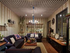 小户型客厅蓝色休闲沙发图片