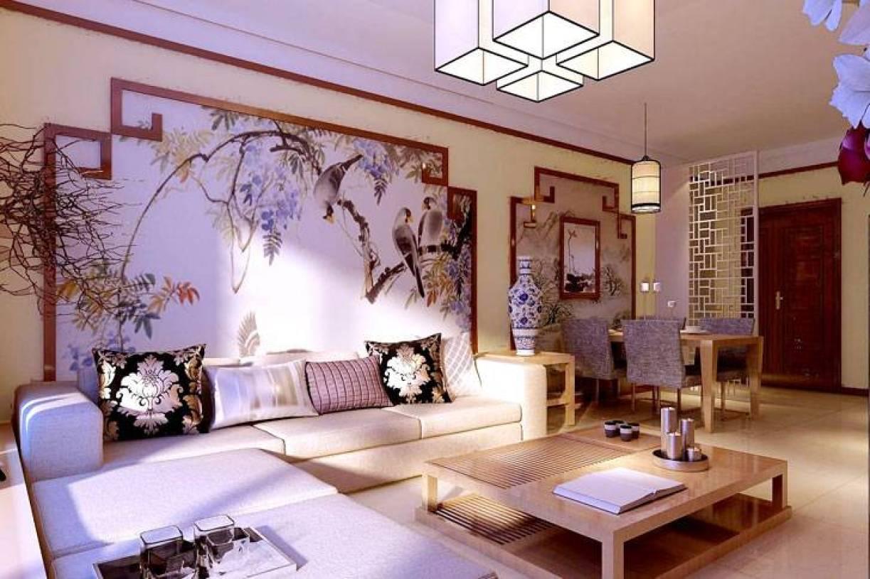 新中式风格客厅沙发背景墙装修效果图-新中式风格实木茶几图片图片