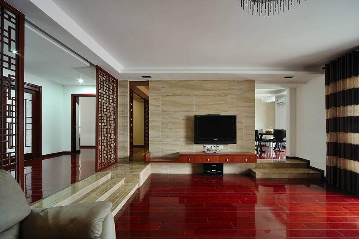 现代简约风格三居室客厅影视墙装修图片-现代简约风格