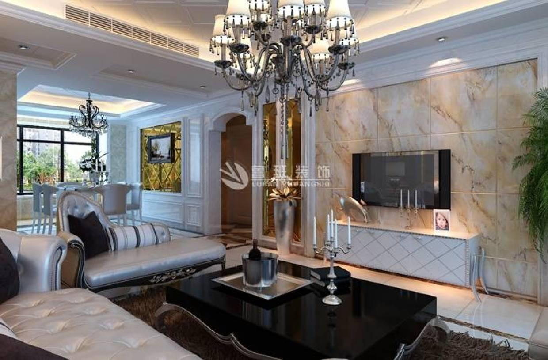 简欧风格客厅大理石背景墙装修效果图-简欧风格贵妃椅