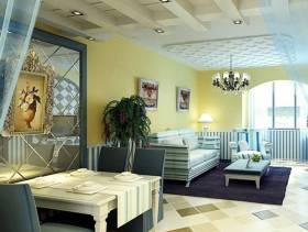 80㎡小户型地中海风格客厅背景墙装修效果图-地中海风格茶几图片