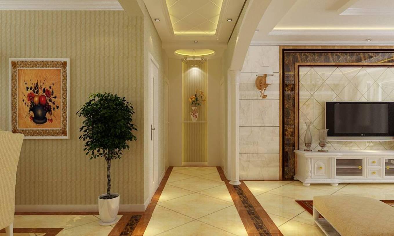 110㎡三居室简约欧式风格过道吊顶装修效果图-简约欧式风格吊灯图片