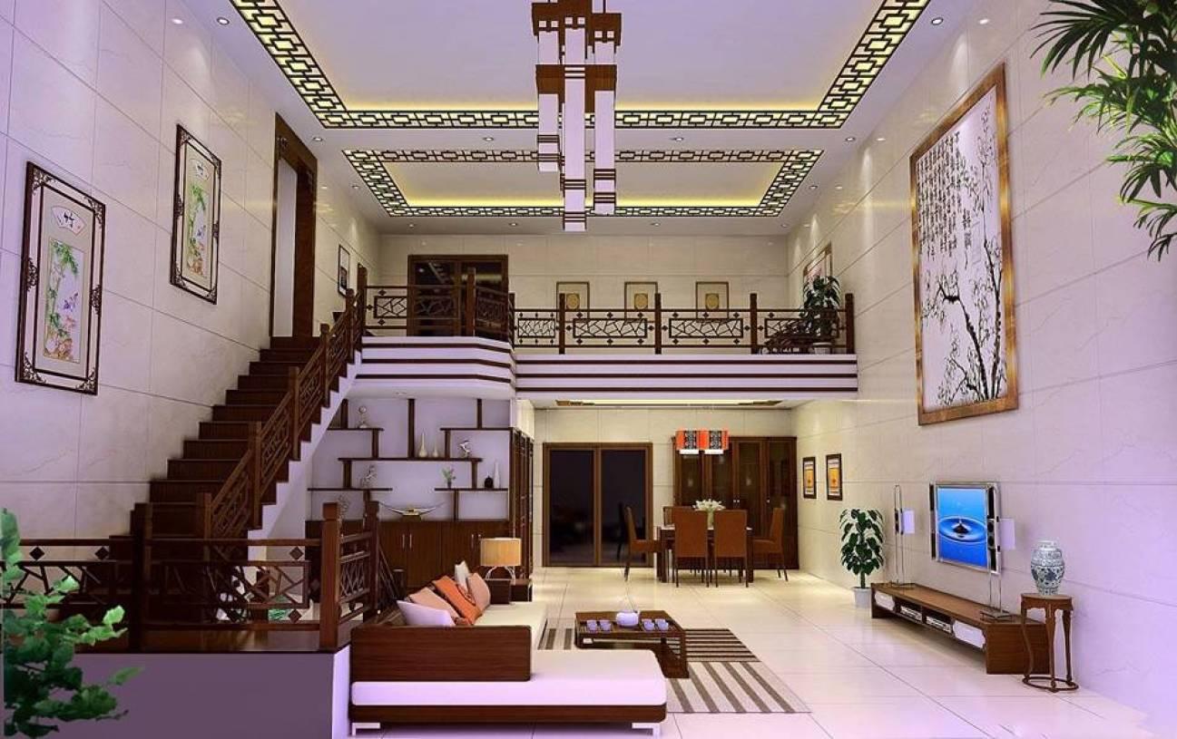 新中式风格楼楼中楼家庭大厅背景墙装修效果图-新中式